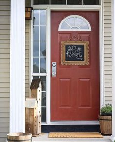 We used Red Barn by Sherwin Williams for this front door. Fresh Look Colour Consulting offers online paint color consultations for your home or business. You can count on us to transform your space with a beautiful paint color palette. #colors #colorscheme #colorinspiration#frontdoor#frontdoorpaintcolors Orange Paint Colors, Paint Color Palettes, Painted Front Doors, Online Painting, Exterior Doors, Color Inspiration, Color Schemes, Colours, Outdoor Decor