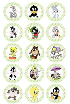 Baby Looney Tunes Bottlecap Image Sheet cakepins.com Looney Tunes Bebes, Looney Tunes Party, Looney Tunes Space Jam, Looney Toons, Rock Crafts, Diy And Crafts, Baby Milestone Book, Looney Tunes Wallpaper, Image Sheet