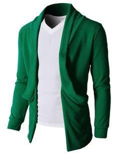 Doublju Men's Sweater Cardigan With No Button Big Pocket (KMOCAL047) #doublju