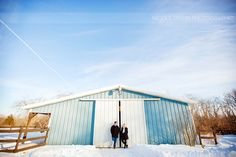 © Nicole Dixon Photographic Columbus Ohio Outdoor Engagement Session Winter Snow Farm