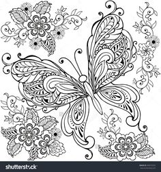 Hand drawn Decorative butterfly with florals for the anti stress coloring page. Butterfly Coloring Page, Flower Coloring Pages, Mandala Coloring Pages, Free Adult Coloring Pages, Coloring Pages To Print, Coloring Book Pages, Printable Coloring Pages, Coloring Sheets, Butterfly Mandala