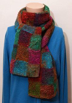 Hand Knit Scarf Autumn Garden Patchwork by StudioatRedTopRanch