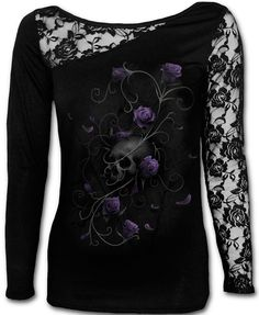Camiseta Entwined #spiral #direct #ropa #gotica #calaveras #rosas #morado #gothic #clothing #roses #skulls #xtremonline