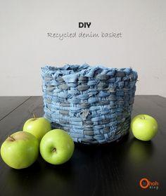 DIY recycled denim basket by Ama Ryllis | Project | Home Decor | Weaving / Accessories | Refashion | Kollabora
