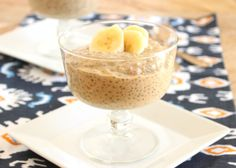 Banana peanut butter chia pudding.  2 very ripe bananas 1 1/2 cups low fat milk (I used 2%) 1/2 cup natural creamy peanut butter 3 tablespoons chia seeds (I used Bob's Red Mill)