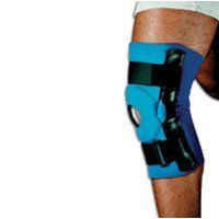 Sportaid, Knee Brace Hinged Open Patella Neoprene, Blue, Medium, size: 14 - 15 inches - 1 ea by SportAid. $35.06. Neoprene covered aluminum hinged stays have hyperextension stop at 170, one each medial and lateral.. Sport aid, Knee Brace Hinged Open Patella Neoprene, Size Medium provide neoprene hinged knee support with straps.. Universal buttress pad of felt attaches with hook to provide lateral, medial, inferior or superior patella support.. Opposing loop-lock straps abo...