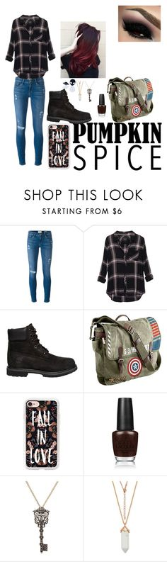 """""""Pumpkin spice data outfit"""" by cupcake-little ❤ liked on Polyvore featuring Frame Denim, Rails, Timberland, Marvel, Casetify, OPI and Haus of Dizzy"""