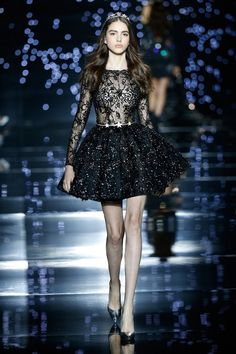 Zuhair Murad 2016 Haute Couture Collection - Black lace embellished dress with stars