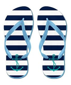 e627457d1 Teal   White Stripe Anchor Flip-Flop Beach Essentials