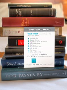 Spiritual Menu in every room gives you choices for insightful bedtime reading.