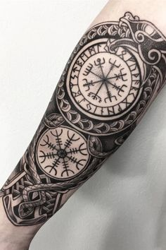 Browse best norse tattoos for men & women. Find inspiration for your next tattoo & book an artist Viking Tattoo Sleeve, Viking Tattoo Symbol, Norse Tattoo, Viking Tattoo Design, Celtic Tattoos, Arm Tattoo, Body Art Tattoos, Hand Tattoos, Tattoo Ink