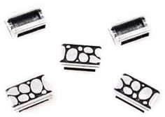 Metalen schuifkralen plat bewerkt ± 9x14mm (gat ± 10x2,5mm) 9958407 www.beadscreations.nl