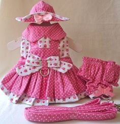 Adorable Dog Dress, Hat, Leash, Panty STRAWBERRY PATCH - XS - L