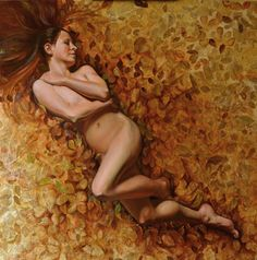 """""""Comes Autumn Wrapped in Gold""""  Nude Figure Oil on Panel with mixed media 30"""" x 30"""""""