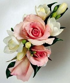 Spray Rose and Freesia Wrist Corsage- Corsage Option 1 (will be all white or with purple tones instead of pink)