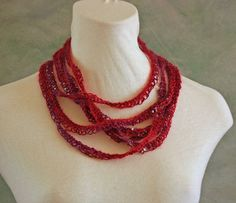 Red & Purple Mohair Silk Beaded Hand Knit by LuxeFabricandYarn, $40.00