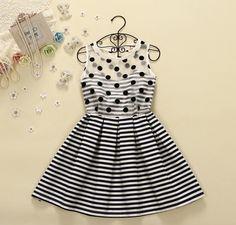 Fashion stripe sleeveless vest dress AX093005ax