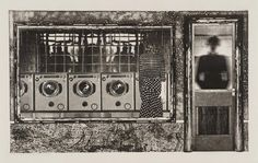 Tim Mara 'The Launderette', 1978 etching © The estate of Tim Mara Tim Mara, When Things Fall Apart, Everyday Objects, Art Images, Art Inspo, Abstract, Illustration, Artist, Artwork