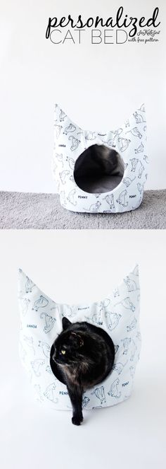DIY Cat Bed Sewing Pattern with Personalized Fabric from @joannstores | See Kate Sew