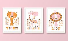 Girls set of 3 jungle nursery prints by BubbleGumYears on Etsy, £23.99