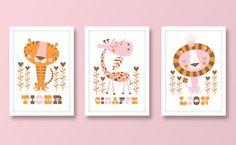Girls set of 3 jungle nursery prints by BubbleGumYears on Etsy, £23.99