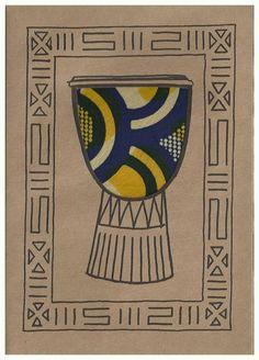 Small Kitenge Card- Drum Card