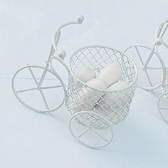 5 Pezzi Bicicletta a tre ruote Cestino Vintage In Materiale Ferro Vernice Bianco-Portaconfetti Bomboniere Regalo