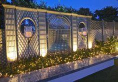 Custom decorative wood treillage by the pool at night. Painted in custom color. Cedar Pergola, Pergola Kits, Pergola Screens, White Pergola, Pergola Roof, Diy Pergola, Gazebo, Deck Design, Garden Design