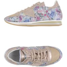 Philippe Model Sneakers ($221) ❤ liked on Polyvore featuring shoes, sneakers, beige, beige shoes, round toe shoes, flat shoes, flower pattern shoes and floral sneakers