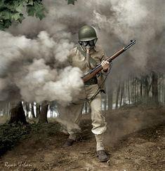 ガスマスクをテストをする米軍の軍曹(1942年、バージニア州フォート・ベルボア)> カラー復元写真