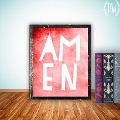 Amen christian art, printable Scripture bible verse art Print wall art decor poster, inspirational quote typography - digital on Etsy, $5.00