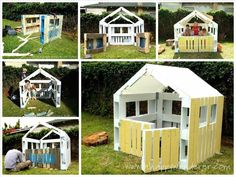 Charming, Inspired Pallet Kids Playhouse Summer Pallet Projects: Go out and play – in a Pallet Playhouse! An awesome weekend project for the little ones; a perfect place for secret clubs, tea parties and SUMMER FUN! 1001 Pallets, Recycled Pallets, Wooden Pallets, Recycled Materials, Diy With Pallets, Recycled Crafts, Pallet Crafts, Diy Pallet Projects, Outdoor Projects