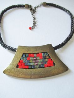 "CHICO'S Black Braided Leather Necklace Bronze / Glass Mosaic Centerpiece 20"" L #Chicos #BraidedLeatherCenterpiece"