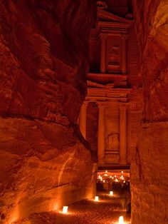 A little Indiana Jones in me!  At Petra, candles light the way to Al Khazneh (the Treasury), whose function in ancient times is still unknown.