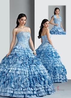 2014 Strapless Ruffled Layers and Appliques Quinceanera Dresses in Light Blue Blue Ball Gowns, Ball Gowns Evening, Ball Gown Dresses, 15 Dresses, Cute Dresses, Evening Dresses, Fashion Dresses, Wedding Dresses, Women's Fashion