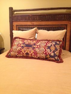 Tapestry turned lumbar pillow for Marascalco river house