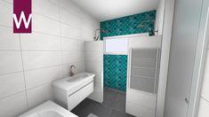 Complete badkamer met bad, twee douches en opvallende muur Showroom, Bathtub, Bathroom, Modern, Standing Bath, Washroom, Bathtubs, Trendy Tree, Bath Tube