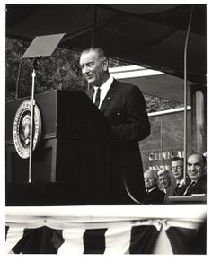 """August 9, 1965. President Lyndon Johnson at the #NIH to sign into law an extension of the Research Facilities Construction Program. He noted that, """"Here on this quiet battleground our Nation today leads a worldwide war on disease."""" Photo from the Office of NIH History and Stetten Museum."""