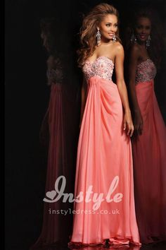Strapless Coral Chiffon Long Prom Dress with Sweetheart Neckline and Beaded Bodice. fav