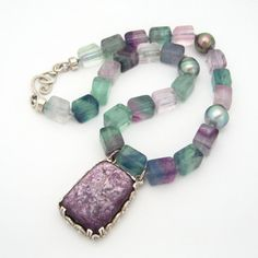 Tahitian Black Pearl Lepidolite and Fluorite by MooreaDesign, $480.00
