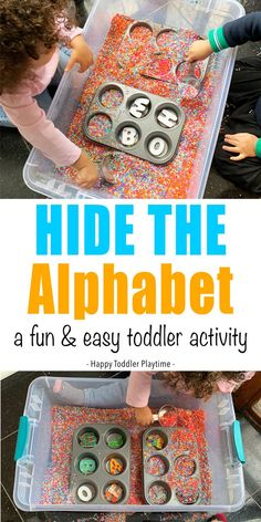 Hide the Alphabet Toddler Activity - HAPPY TODDLER PLAYTIME Hide the alphabet toddler activity is a fun and easy letter recognition activity. Play this fun game of bury the letters that your child will want to do again and again! #sensorybin #earlylearning #alphabet