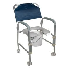 Aluminum Shower Chair and Commode with Casters | Drive Medical