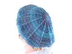 Crochet Chunky Designer Beret or Tam in Purple, Blue & Teal. Hat, Accessories.Vegan