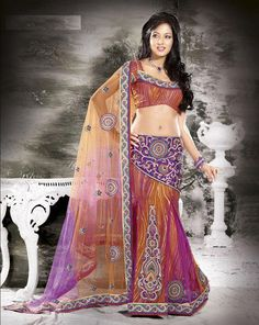 $77.57 Apricot and Bluish Purple and Red Net Lehenga Saree 16525 With Unstitched Blouse