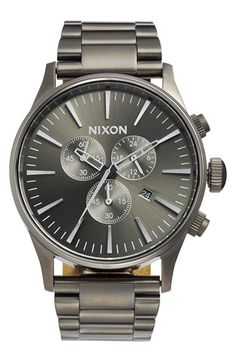 Free shipping and returns on Nixon 'The Sentry' Chronograph Bracelet Watch, 42mm at Nordstrom.com. Textured chronograph subdials detail the clean, round dial of a handsome, highly functional bracelet watch.