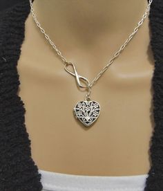 Sterling Heart Floral Locket Pendant Charm Chain Necklace Solid Silver 925 Handmade Lariat Y Necklace Drop Pendant Infinity Charm
