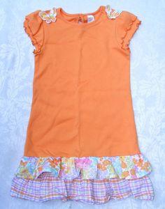 GIRLS' GYMBOREE Summer Dress, Orange Butterfly Blossoms Tiered Floral Skirt Sz 8 #Gymboree