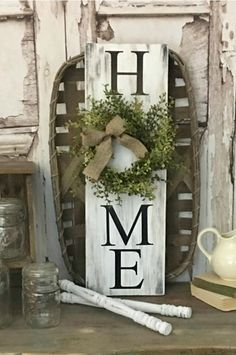 Farmhouse HOME Sign with Wreath #farmhouse #home #signs #woodsigns #rustic #farmhousestyle #farmhousedecor #rusticdecor #etsy #affiliate