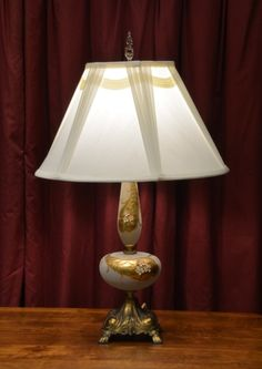 Table Lamp - Painted Glass with Flowers, Brass Base