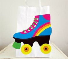 Roller Skate Banner Skating Birthday Party Banner by CraftyCue Party 80s, 80s Birthday Parties, Fiesta Party, 8th Birthday, Roller Skating Party Favors, Skate Party, Goody Bags, Favor Bags, Small Gift Bags